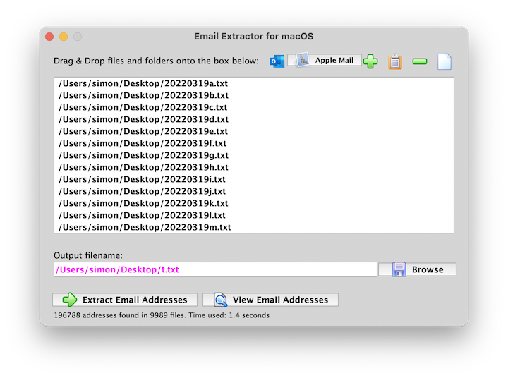 Email Extractor for Mac OS X