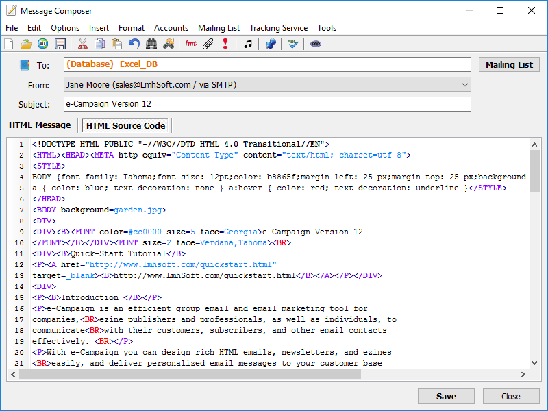 HTML Source Code Editor with Syntax Highlighting